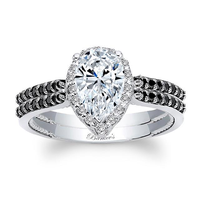 Eva Pear Shaped Moissanite Black Diamond Accent Halo Ring Set