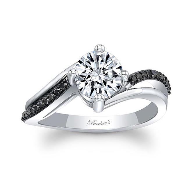 Split Shank Black Diamond Moissanite Ring