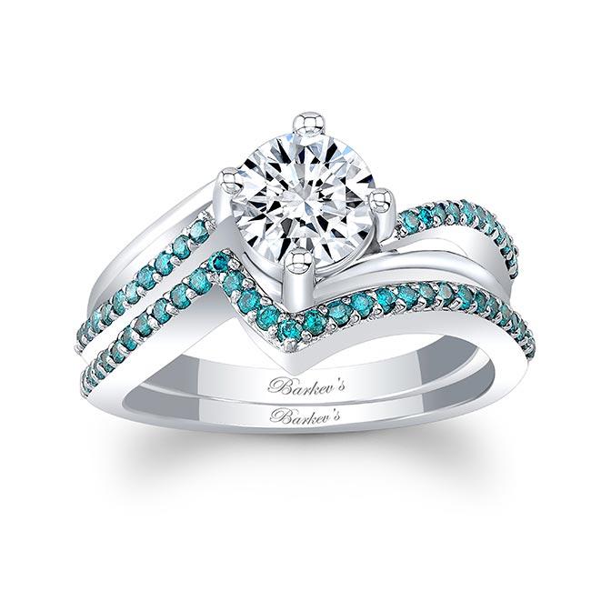 Split Shank Blue Diamond Accent Moissanite Wedding Set
