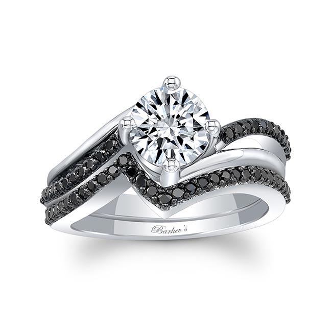 Split Shank Black Diamond Moissanite Wedding Set