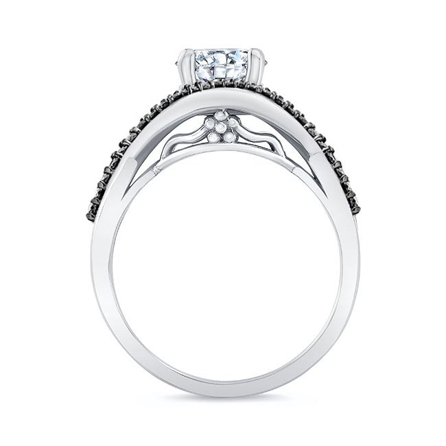 Criss Cross Black Diamond Accent Ring Image 2