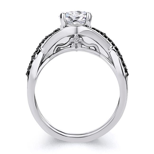 Criss Cross Black Diamond Accent Moissanite Ring Set Image 2