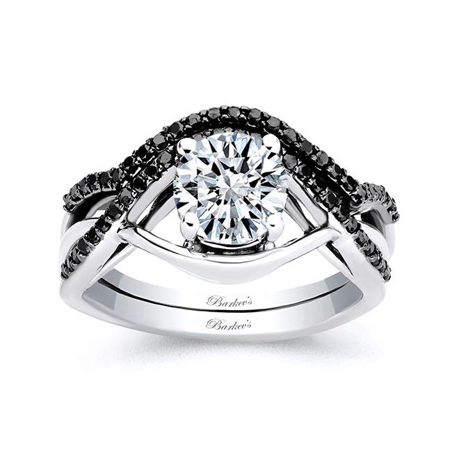 Criss Cross Black Diamond Accent Ring Set