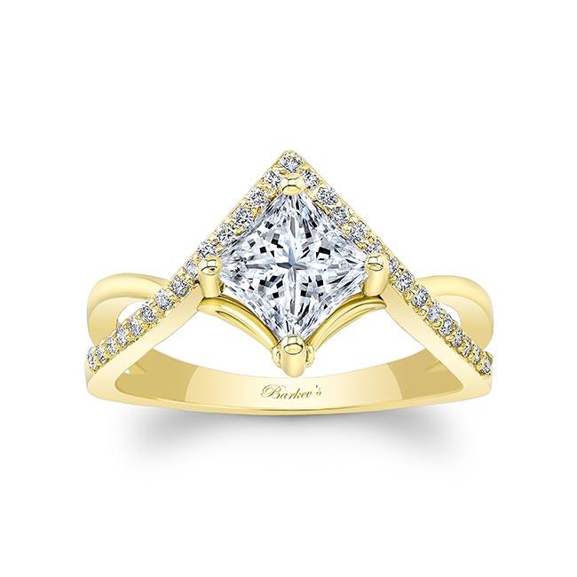 Unique Princess Cut Moissanite Engagement Ring