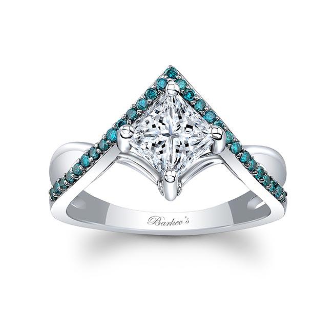 Unique Princess Cut Blue Diamond Accent Ring
