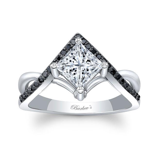 Unique Princess Cut Black Diamond Accent Moissanite Ring