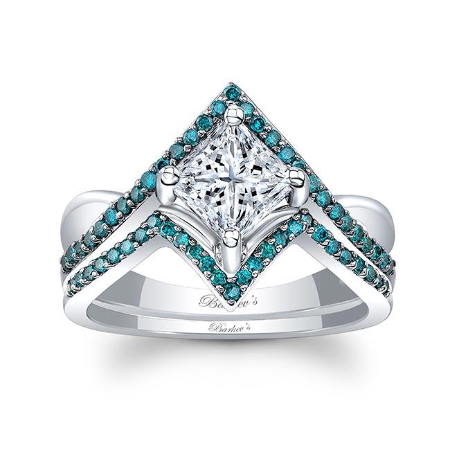 Unique Princess Cut Blue Diamond Accent Ring Set