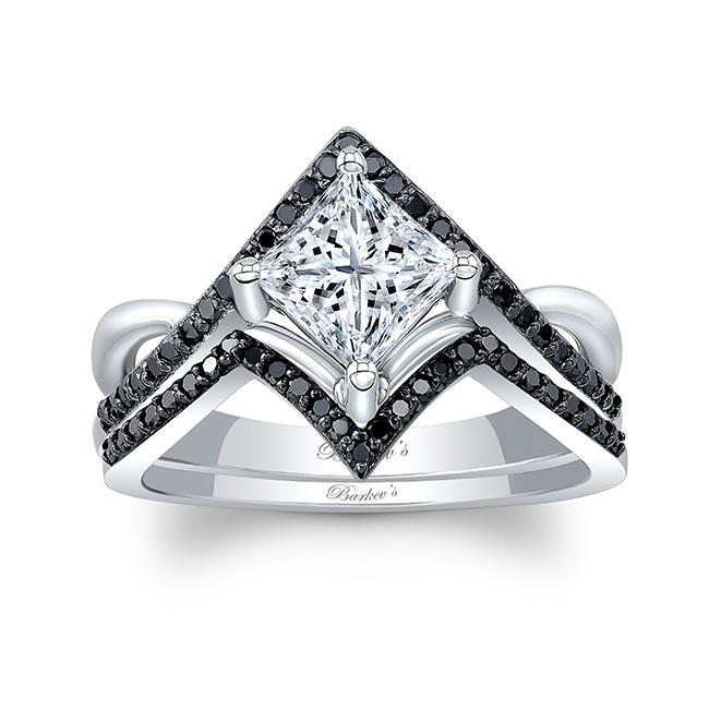 Unique Princess Cut Black Diamond Accent Ring Set