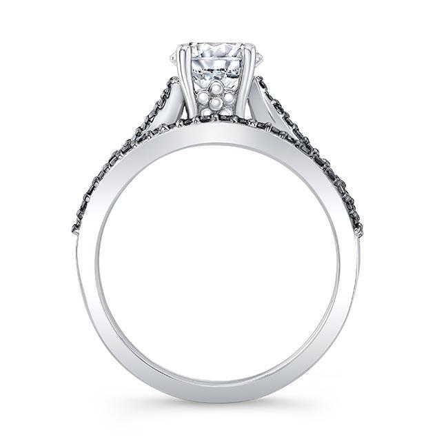 Black Diamond Accent Overlap Moissanite Ring Set Image 2