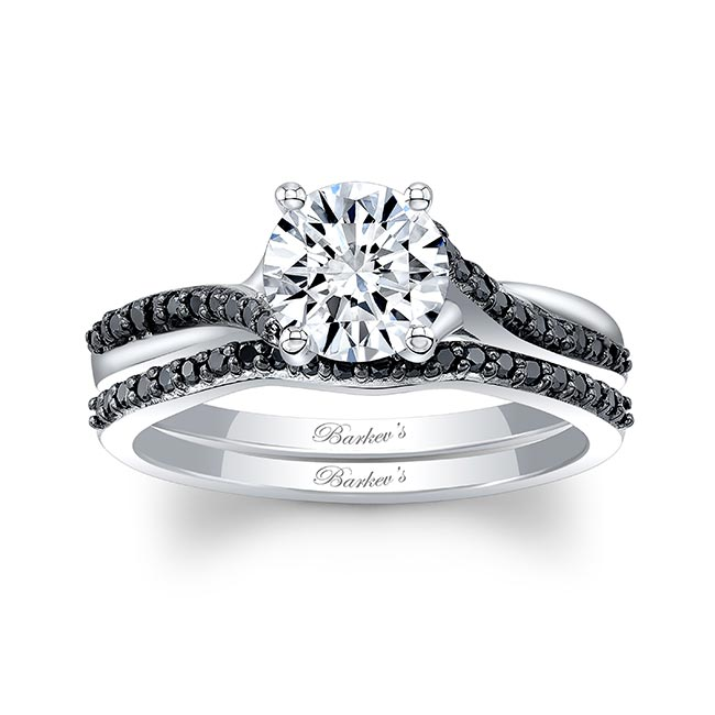 Black Diamond Accent Overlap Moissanite Ring Set Image 1