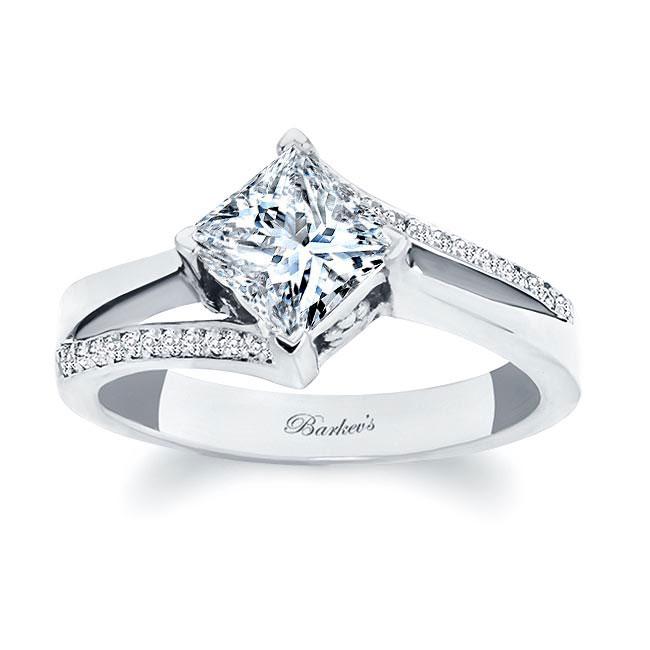 Princess Cut Moissanite Split Shank Ring Image 1