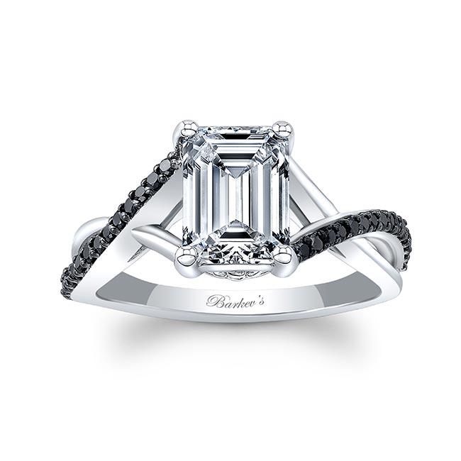 2 Carat Emerald Cut Black Diamond Accent Ring