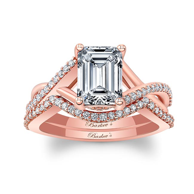 2 Carat Emerald Cut Diamond Ring Set