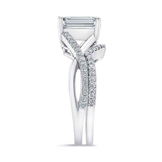 2 Carat Emerald Cut Moissanite Ring Set Image 3