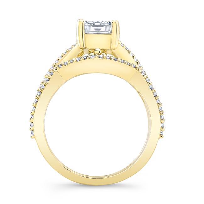 2 Carat Emerald Cut Moissanite Ring Set Image 2