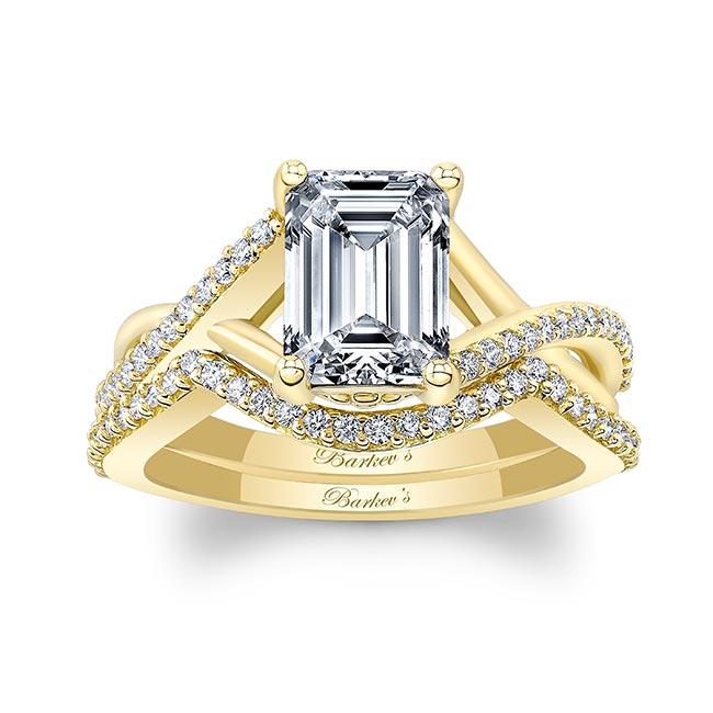2 Carat Emerald Cut Moissanite Ring Set