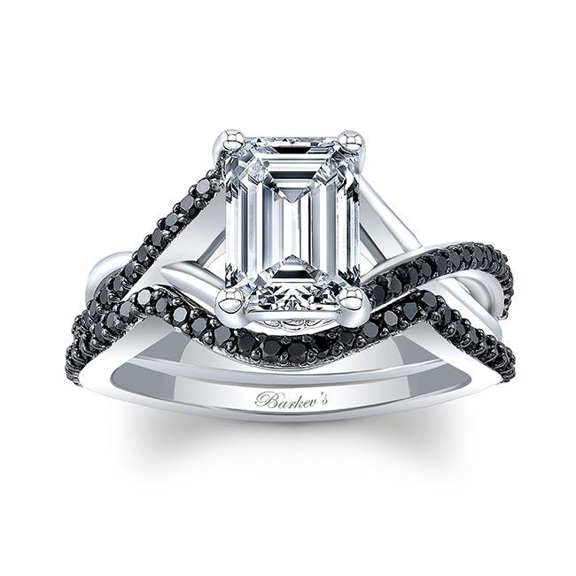 2 Carat Emerald Cut Black Diamond Accent Ring Set