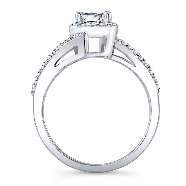 Radiant Cut Moissanite Halo Engagement Ring Image 2