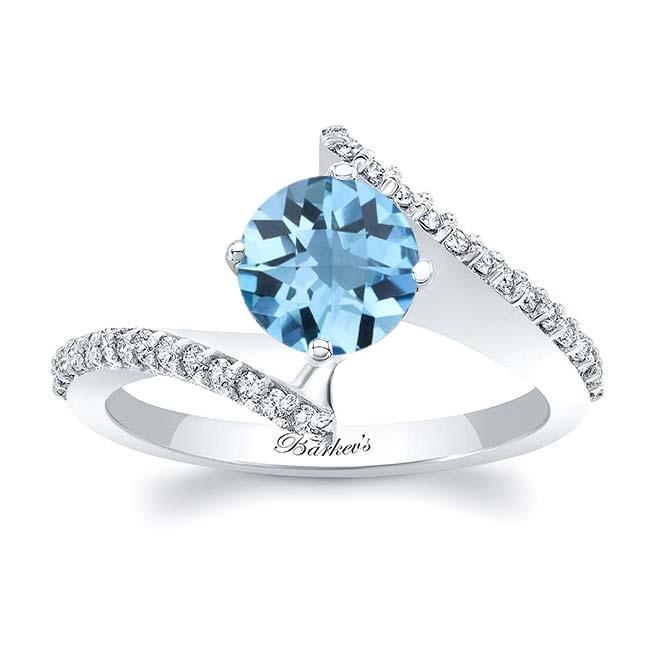Modern Bypass Aquamarine Engagement Ring