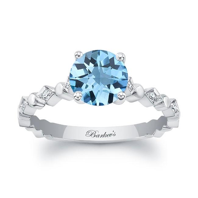 Art Deco Aquamarine Engagement Ring