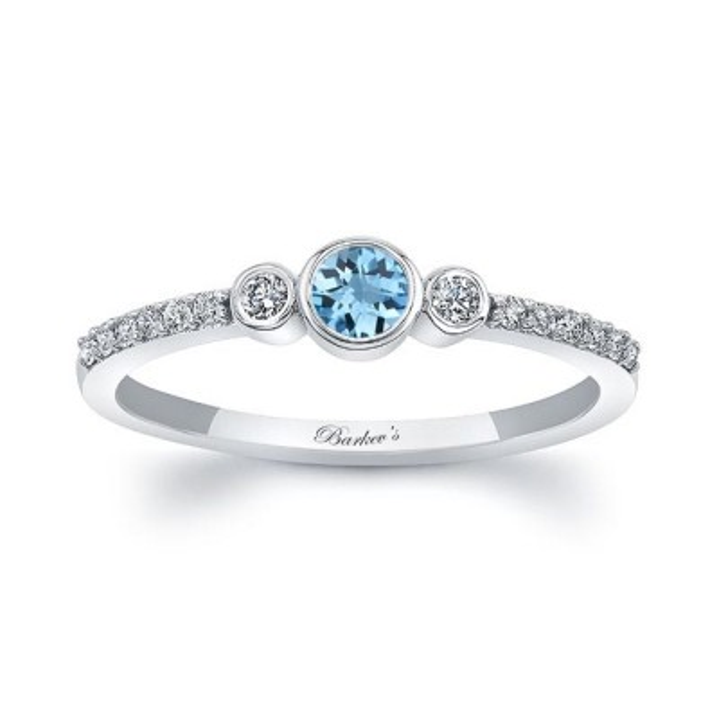 Mia Aquamarine Three Stone Diamond Promise Ring