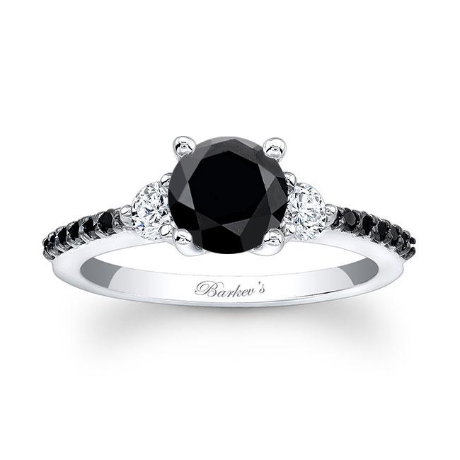 3 Stone Black Diamond Engagement Ring