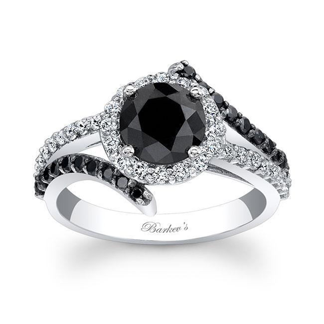 Contemporary Black Diamond Engagement Ring Image 1