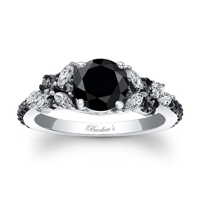 Vintage Marquise Black Diamond Engagement Ring