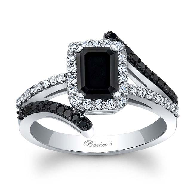 Emerald Cut Black Diamond Halo Engagement Ring Image 1