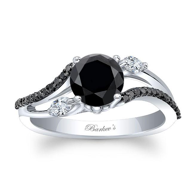 Split Shank Black Diamond Ring