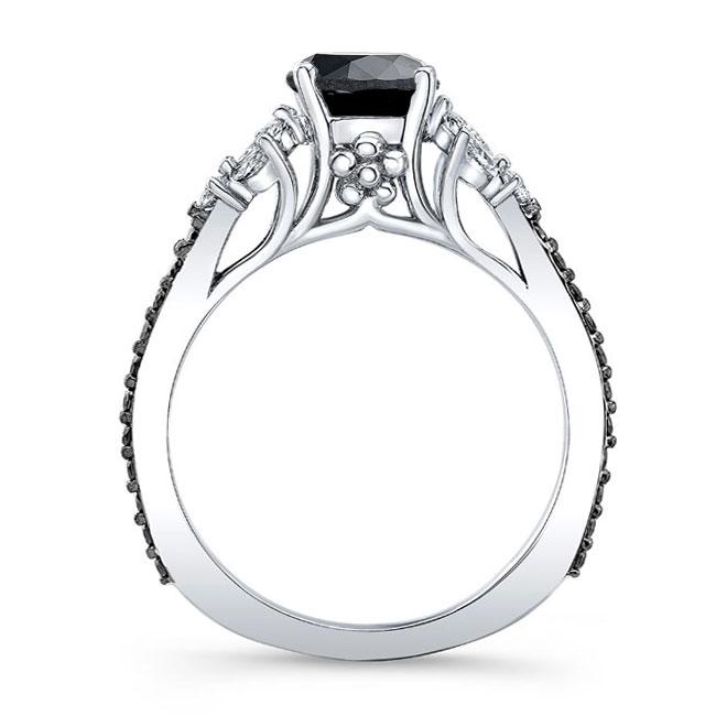 Black Diamond Leaf Engagement Ring Image 2
