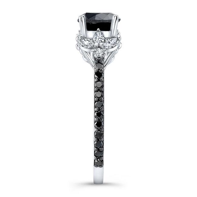 Black Diamond Leaf Engagement Ring Image 3