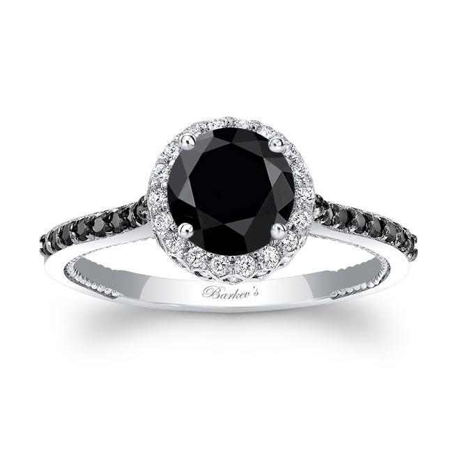 Round Halo Black Diamond Ring