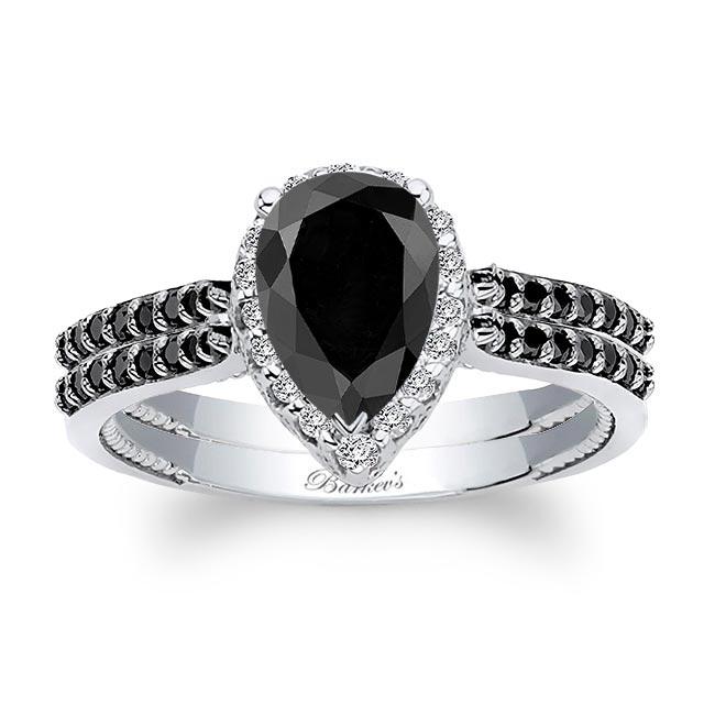 Eva Pear Shaped Black Diamond Halo Ring Set