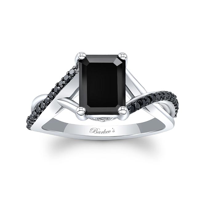 2 Carat Emerald Cut Black Diamond Ring