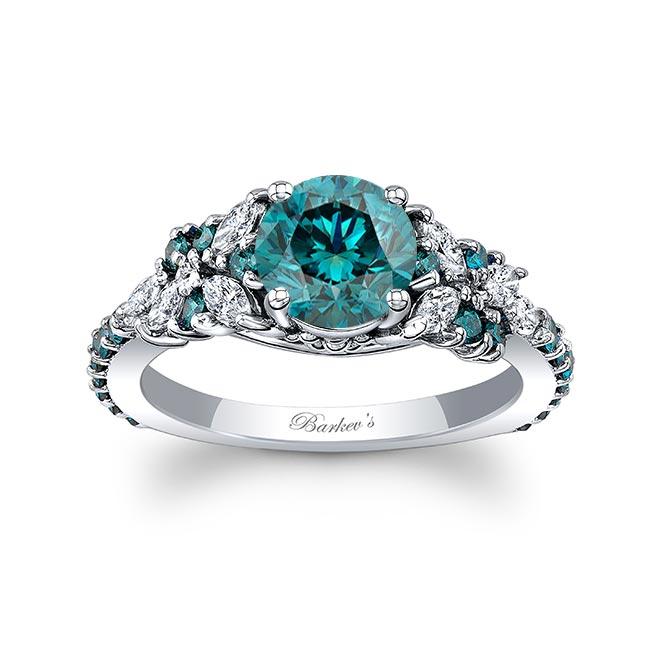 Vintage Marquise Blue Diamond Engagement Ring