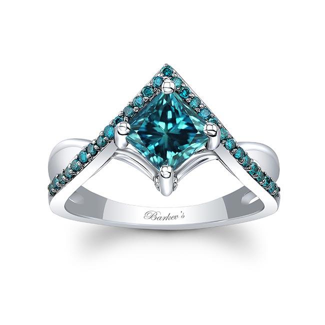 Unique Princess Cut Blue Diamond Engagement Ring