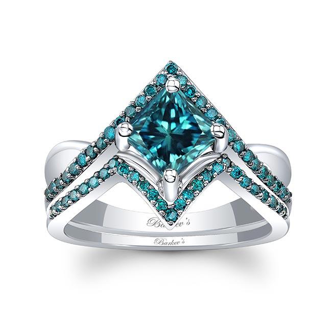 Unique Princess Cut Blue Diamond Engagement Ring Set