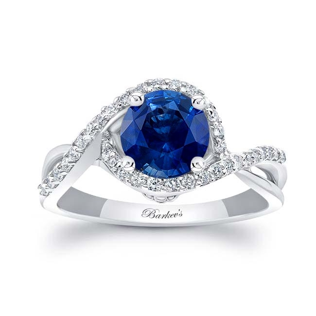 Twisted Halo Sapphire Engagement Ring