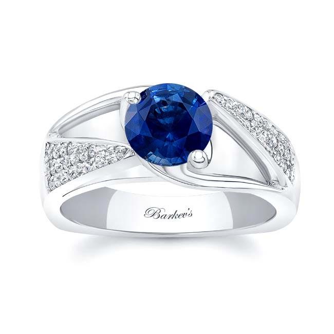 3 Row Diamond Blue Sapphire Ring