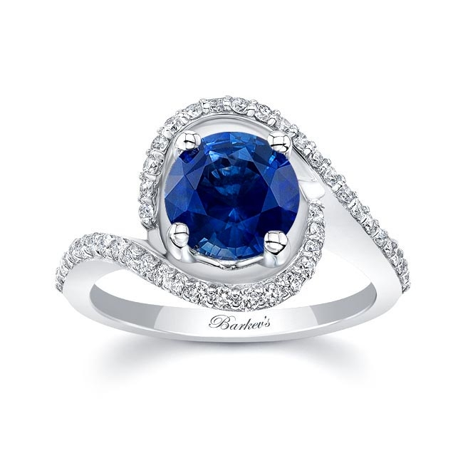 White Gold Blue Sapphire Engagement Ring BS-8204L