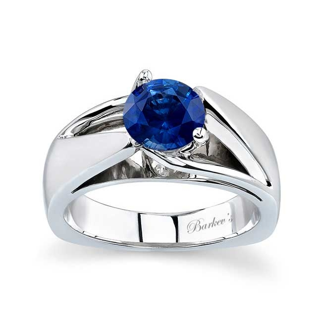 Round Blue Sapphire Solitaire Engagement Ring BSC-5074L