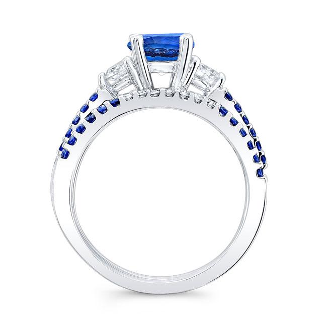 3 Stone Sapphire Engagement Set Image 2