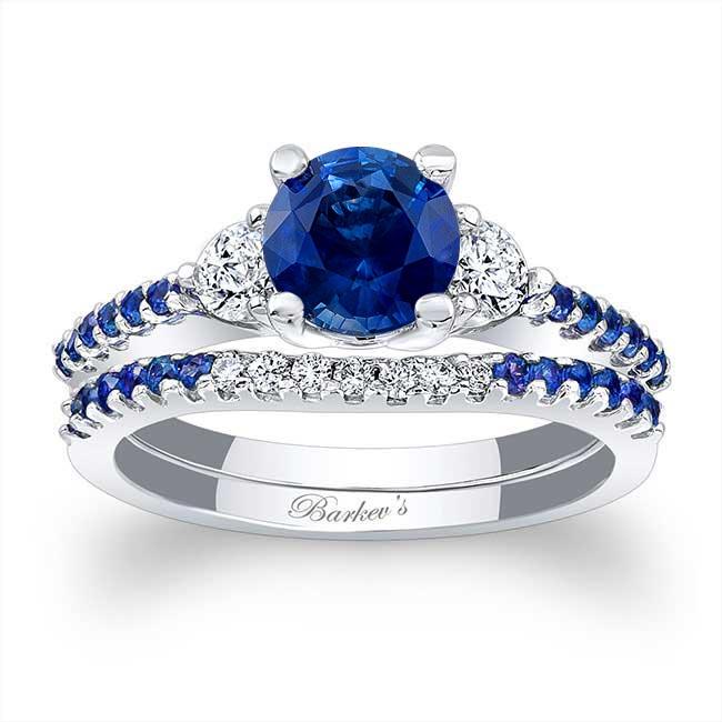 3 Stone Sapphire Engagement Set Image 1