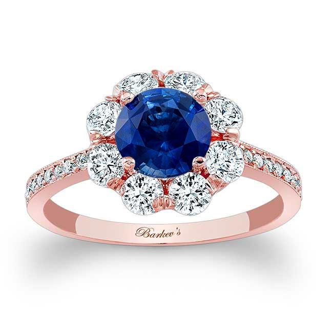 1 Carat Sapphire Halo Diamond Ring