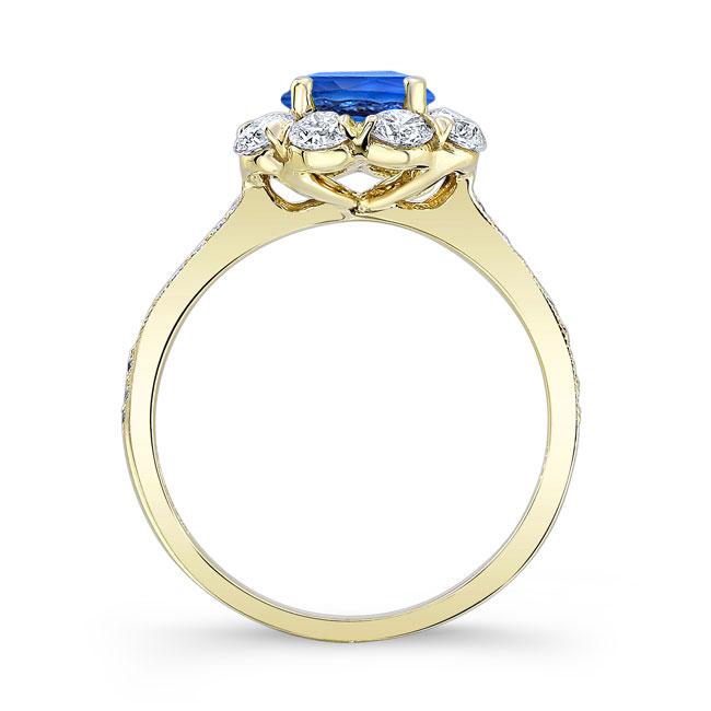 1 Carat Sapphire Halo Diamond Ring Image 2