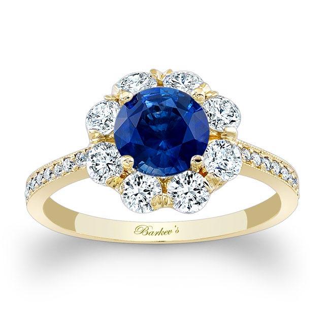 1 Carat Sapphire Halo Diamond Ring Image 1