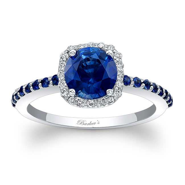 1 Carat Round Sapphire Halo Engagement Ring