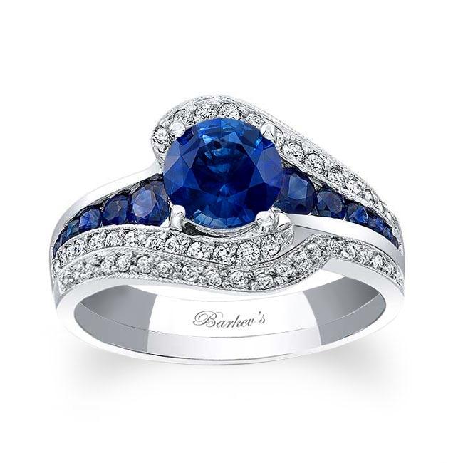 Unique Sapphire Bridal Set