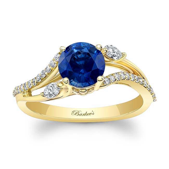Split Shank Blue Sapphire Ring Image 1